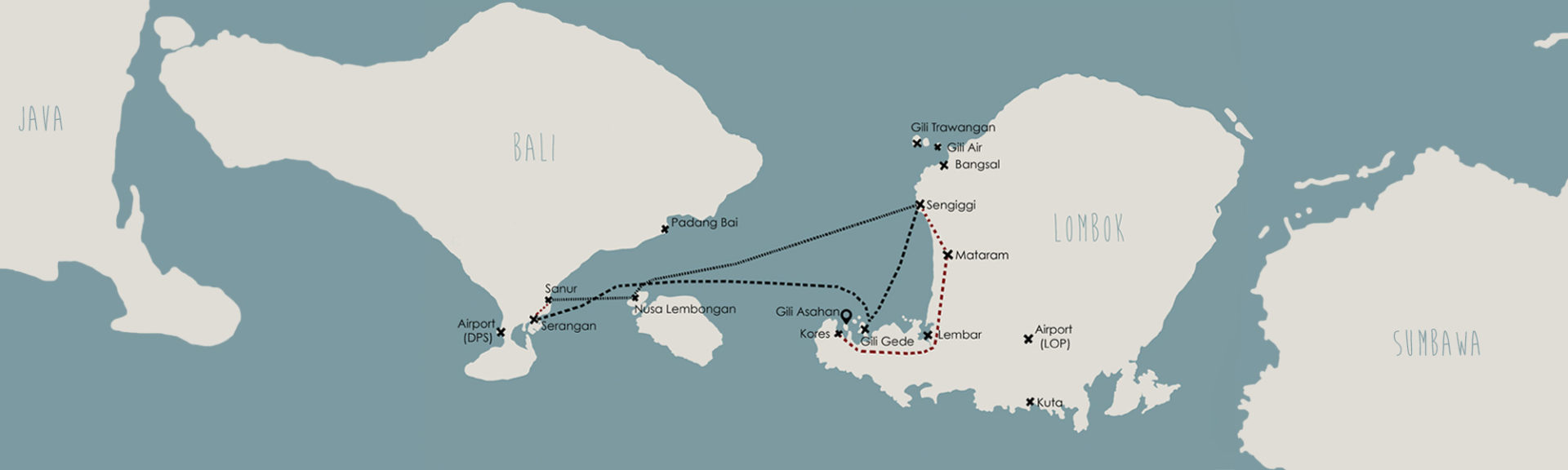 Carte Java Bali Lombok.Fast Boat Lembongan Gili Asahan Eco Lodge Restaurant