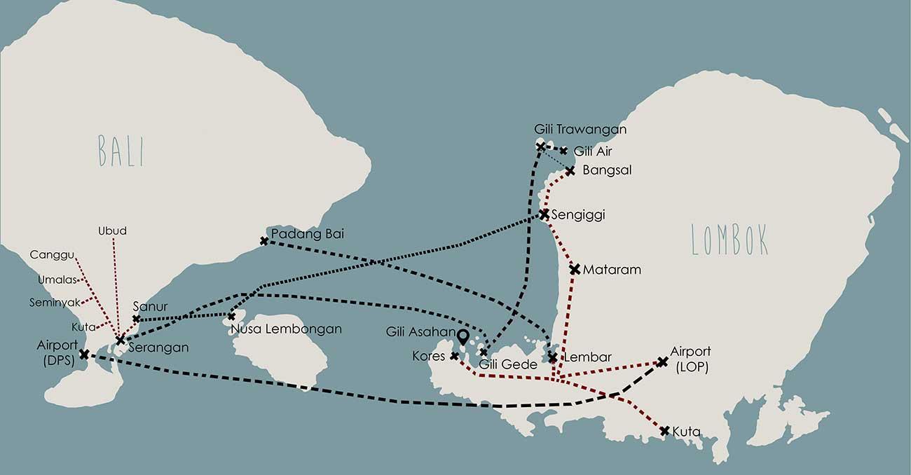 Bali Karte Canggu.Fast Boat Lembongan Gili Asahan Eco Lodge Restaurant